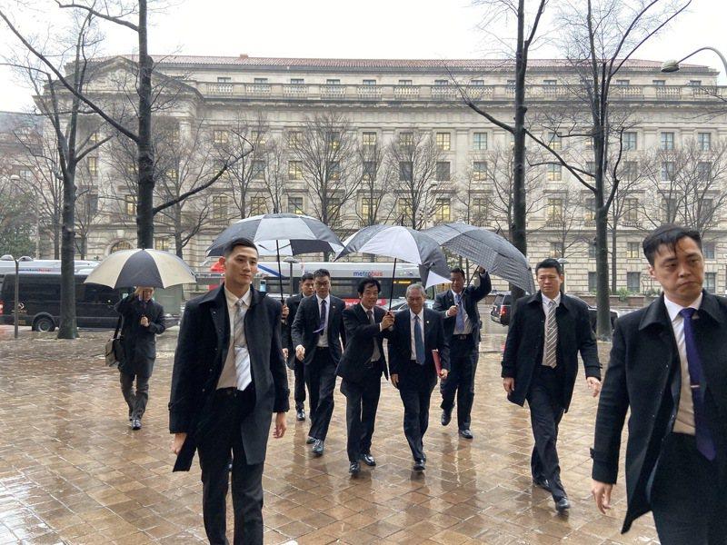 副總統當選人賴清德一行7日赴智庫「哈德遜研究所」與智庫人士會談。華盛頓記者張加/攝影