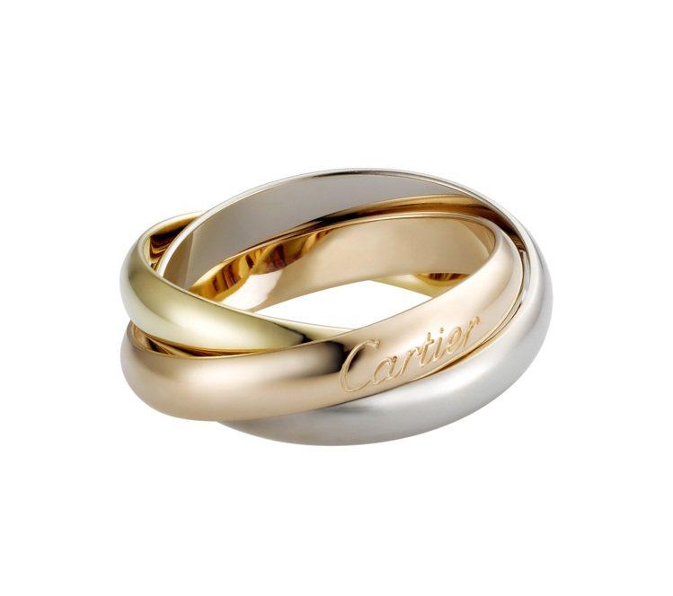 Cartier,卡地亞Trinity系列三環戒經典款,三色金屬分別為玫瑰金、黃K...