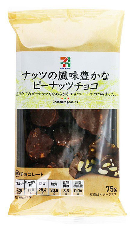 日本7PREMIUM「巧克力風味花生塊」,售價55元。圖/7-ELEVEN提供