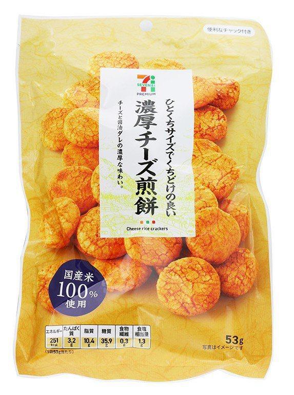 日本7PREMIUM「濃厚起司風味煎餅」,售價69元。圖/7-ELEVEN提供