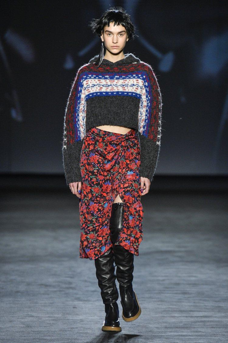 2020秋冬rag & bone有許多解構費爾島毛衣的造型。圖/rag & bo...