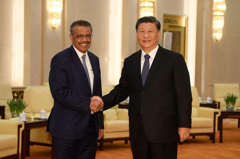 世衛秘書長譚德塞多次稱讚中國的防疫努力,引發外界責難。圖為譚德塞(左)在疫情爆發後,會見中國國家主席習近平。 法新社