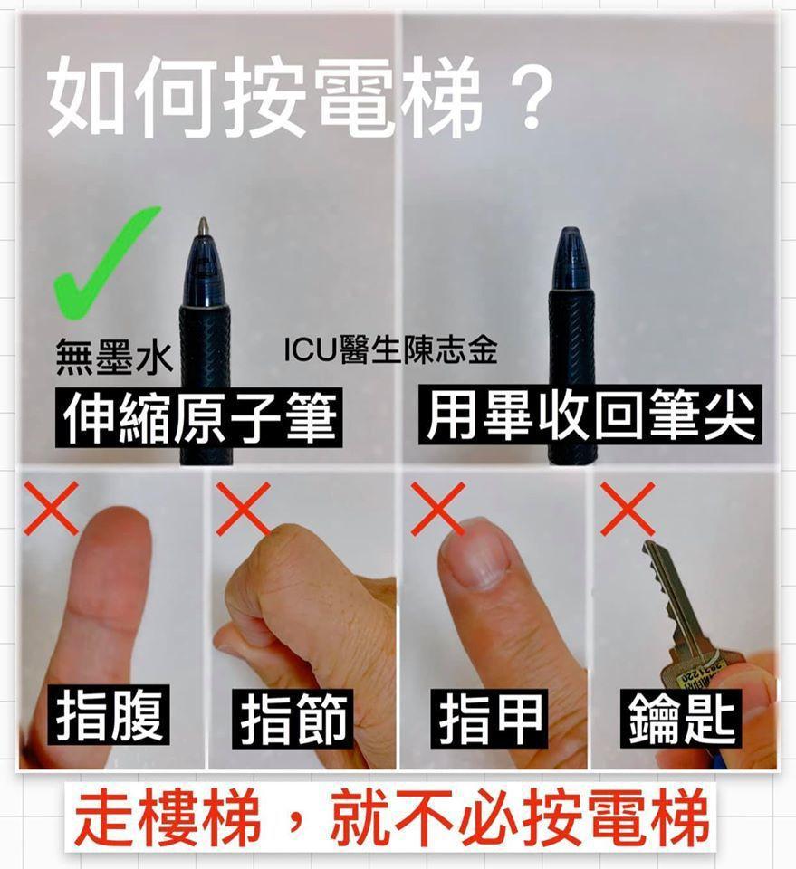 陳志金醫師分享3種按電梯的方法,教大家防疫。 圖/翻攝自陳志金醫師臉書