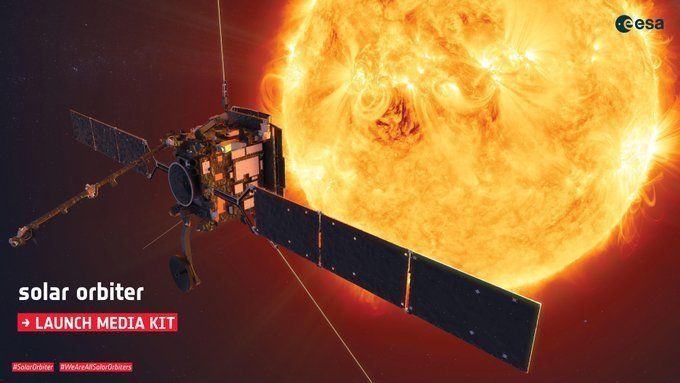 由美國與歐洲合作的太陽探測計劃將於9日發射太空船,為人類研究太陽的進展又邁出一大步。(Photo by ESA's Solar Orbiter @ESASolarOrbiter on Twitter)