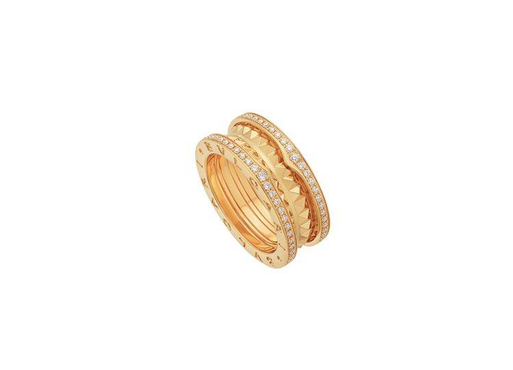 寶格麗B.zero1 Rock系列黃K金雙環鑲鑽戒指,約20萬6,500元。圖/...