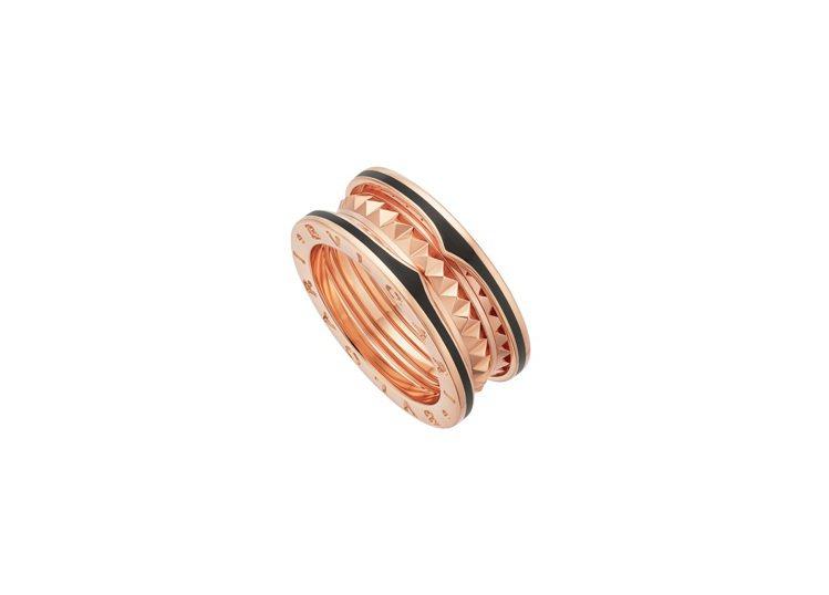 寶格麗B.zero1 Rock系列玫瑰金黑陶瓷雙環戒指,約59,500元。圖/B...