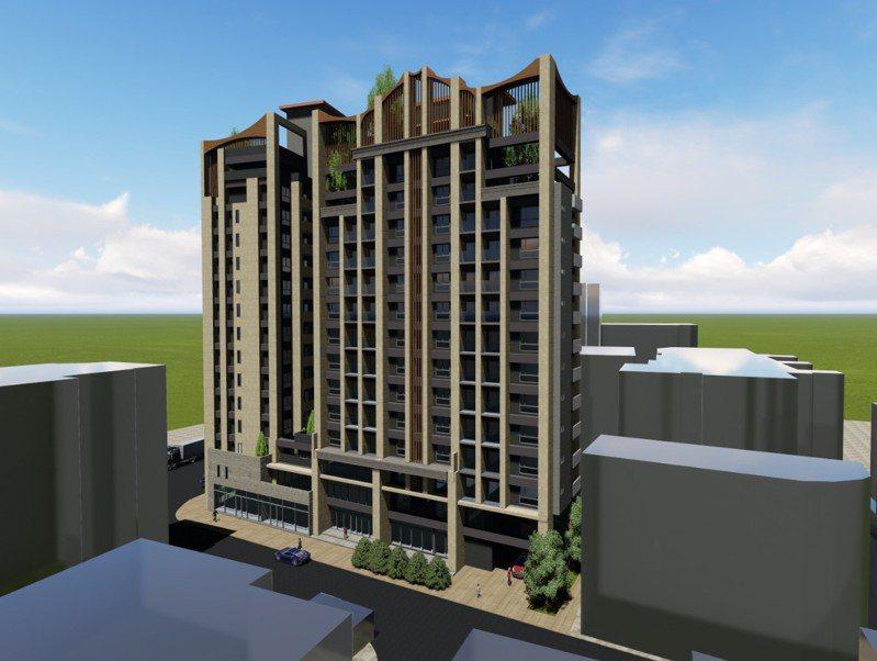 新北市板橋區府中段危老重建案,預計打造2棟15層樓高住商混合大樓,圖為新建物模擬圖。 圖/新北市都更處提供