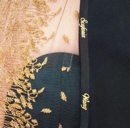 女星娜塔莉波曼把被奧斯卡忽視女導演名字都縫在她的大衣上。 法新社