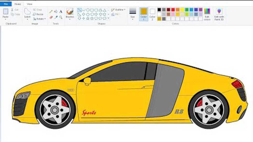 使用小畫家繪製的Audi R8。 摘自Youtuber:BeingNandish