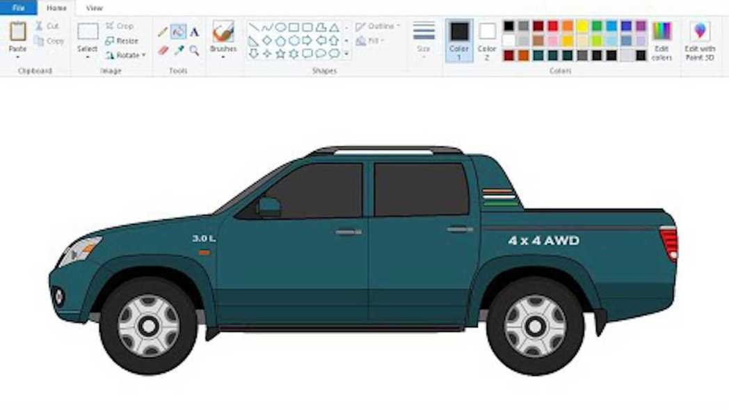 連皮卡車型都能使用小畫家繪製。 摘自Youtuber:BeingNandish
