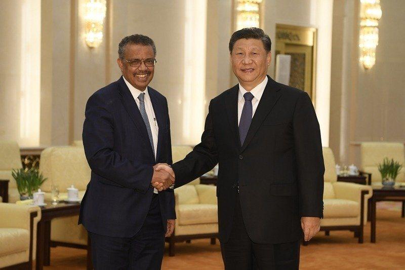 WHO譚德塞會見中國國家主席習近平。 圖/美聯社