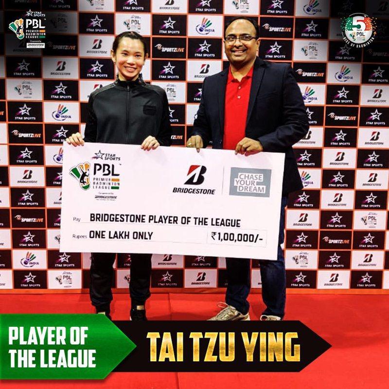 戴資穎以賽會8連勝之姿,榮膺印度聯賽最佳球員。圖/取自推特