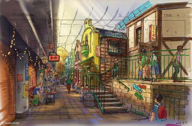 吉卜力大倉庫內,以油屋前的美食街為主題,打造成為不可思議的街區。圖/取自網路