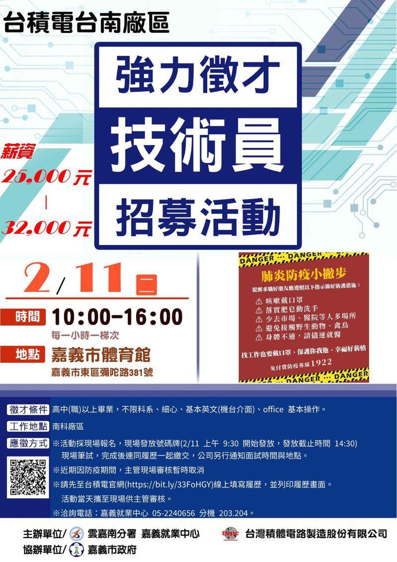 台積電台南廠明天將於嘉義市體育館舉辦招募面試會,預定招募400名現場技術員。記者卜敏正/翻攝