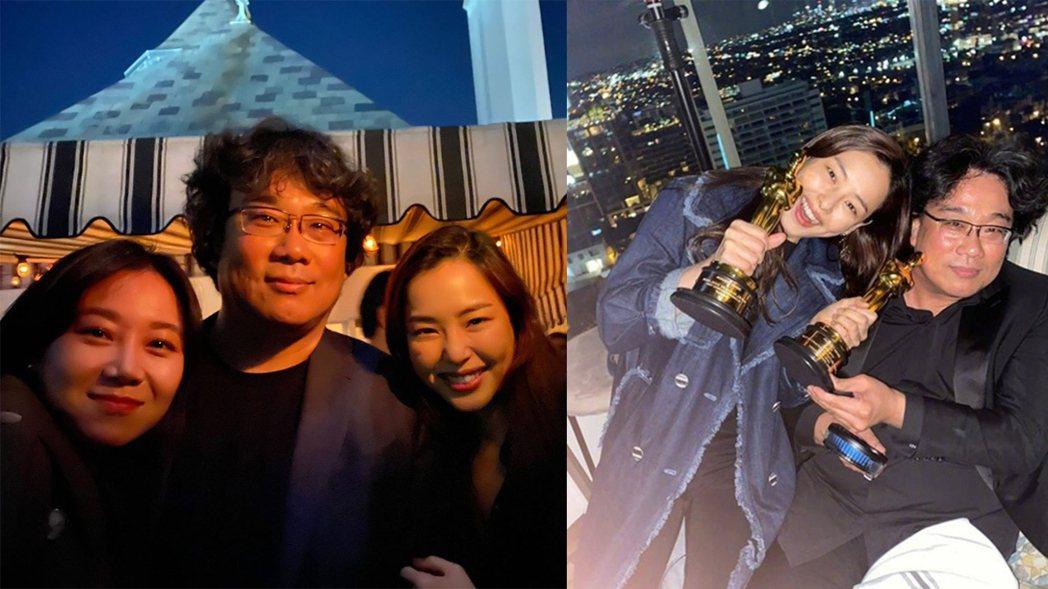 女星孔曉振及李荷妮開心與「寄生上流」演員合照慶祝。圖/擷自IG