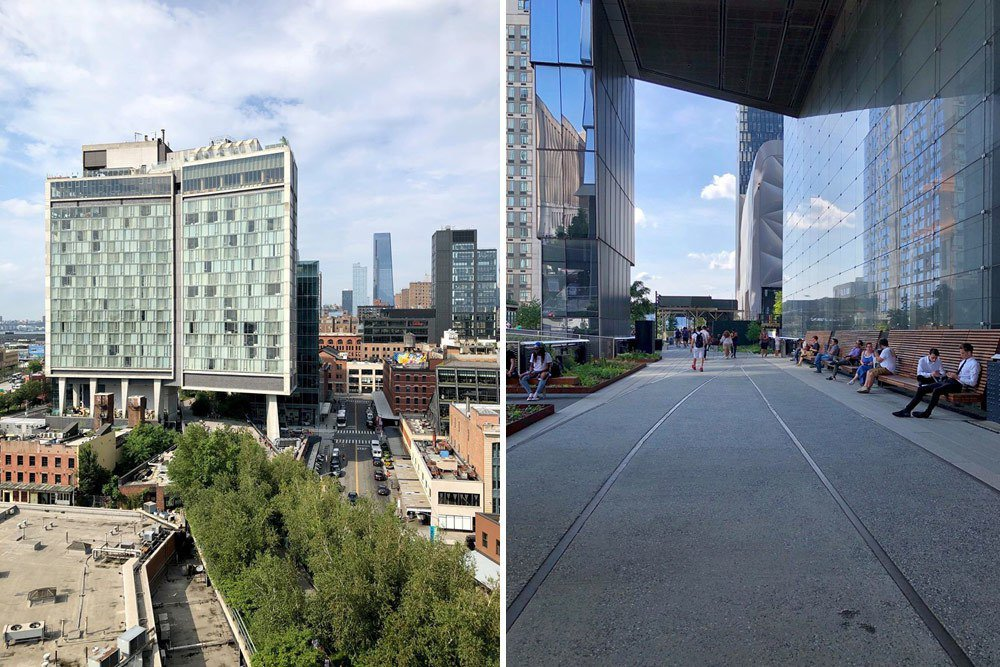 左:紐約曼哈頓鐵道公園High Line Park最南端,圖中可見商業大樓底層簍空使鐵道公園穿越保存;右:紐約曼哈頓第10大道與西30街路口商業大樓底層簍空一景。 圖/作者自攝