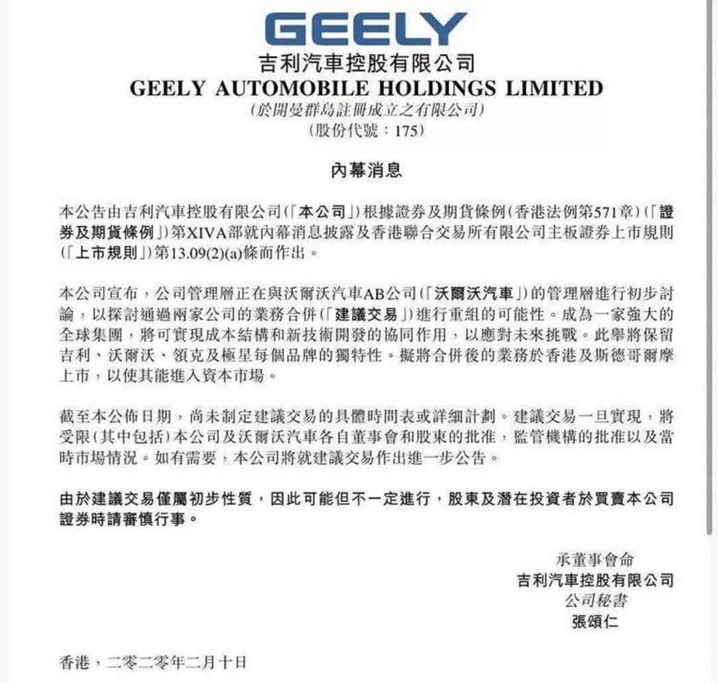 吉利汽車10日在香港聯交所發布的公告股價走勢。圖/香港聯交所公告