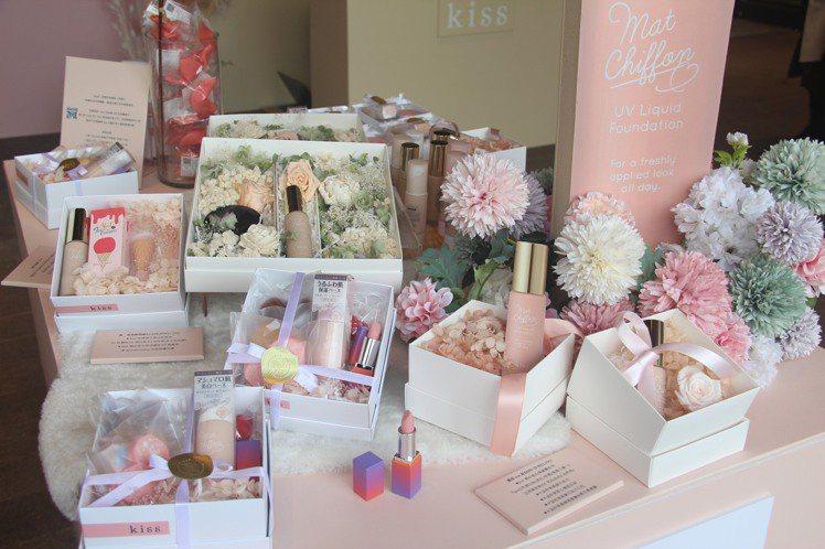 「大女孩戀愛系kiss美.術館」推出5款快閃期間限定的禮盒。圖/kiss提供