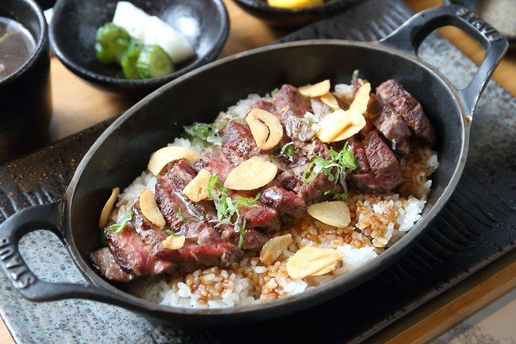 Prime沙朗6oz牛排御飯。記者陳睿中/攝影