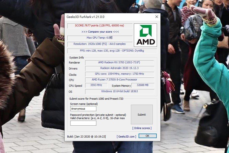 燒機軟體FurMark以1080P設定來回半小時做測試,顯示卡幀數最高130FP...