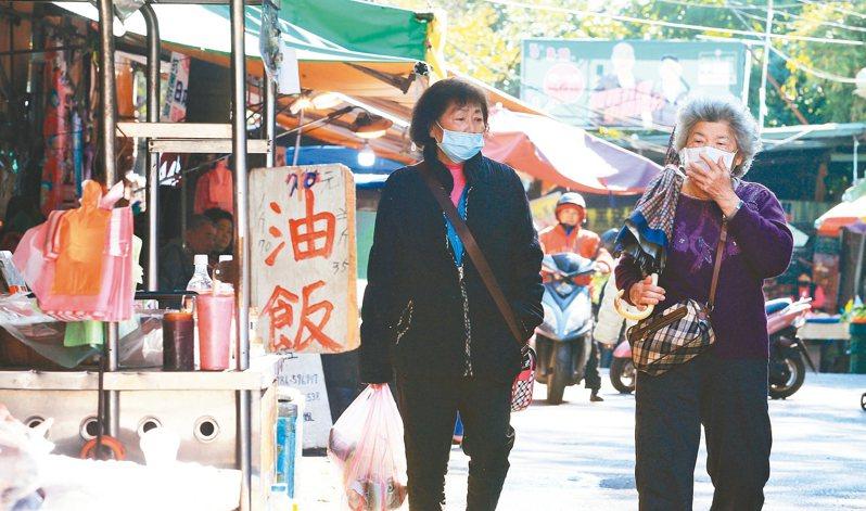 新冠肺炎影響,上街的民眾不時拉拉口罩,再三確認有無戴緊。 記者陳正興/攝影