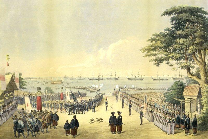 培理率領四條黑船,一行人登陸日本。 圖/維基百科