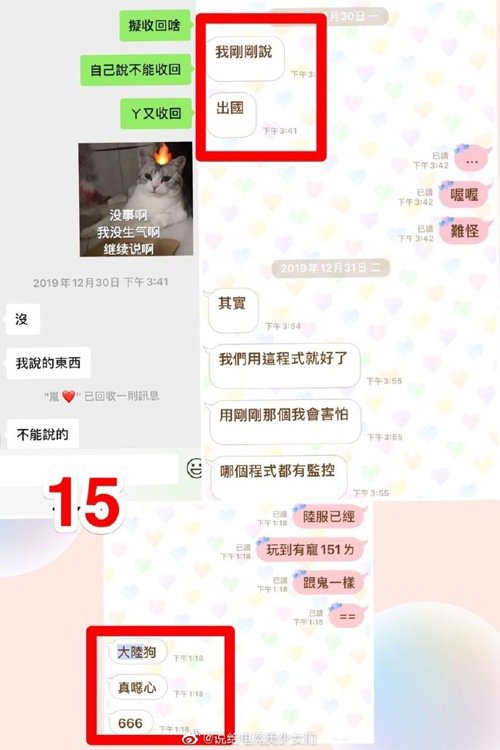 對話中有出現「出國」、「大陸狗」等字眼,讓中國網友十分不滿/圖片截自微博