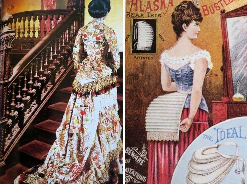 左:禮賓司長鍋島直大的夫人榮子,上樓接待貴賓。翻拍自《周刊 Time Travel》,講談社。右:1870年代,法國高級訂製服開始流行襯墊,並影響日本貴婦的服飾。翻拍自The History of Modern Fashion from 1850, Laurence King Pub. 圖/作者提供