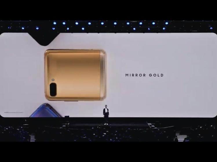 除了頑美黑、頑美紫兩色,Galaxy Z Flip還會在特定地區推出金色版本。圖...