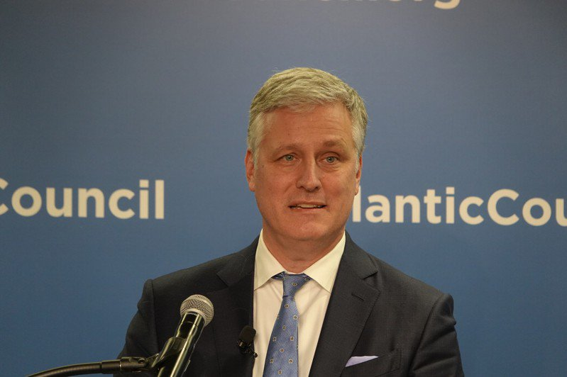 美國白宮國安顧問歐布萊恩(Robert O'Brien)11日參加智庫「大西洋理事會」座談。記者張文馨/攝影