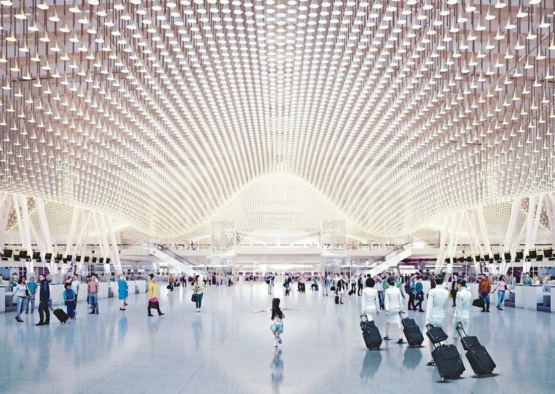 桃園機場第三航廈設計華麗,但施作成本過高,三度流標。圖/桃園機場公司提供