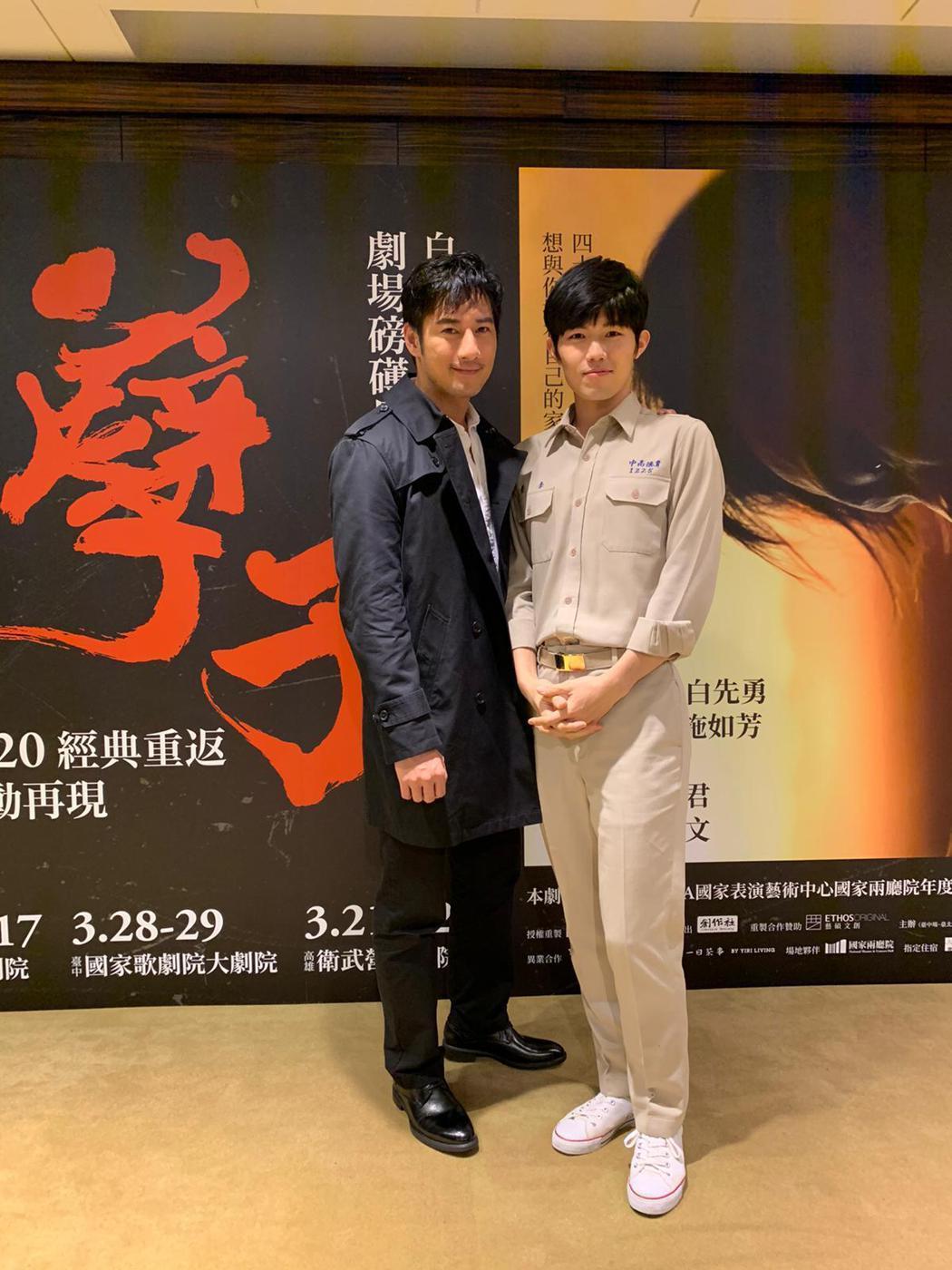 周孝安(左)、張耀仁將在「孽子」舞台劇中呈現同志之愛。圖/創作社劇團提供