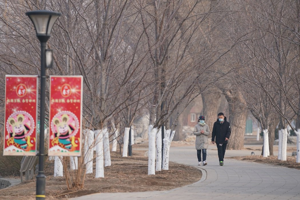 2月12日,受新冠肺炎疫情的影響,北京市民佩戴口罩在玉淵潭公園內遊玩。 中新社