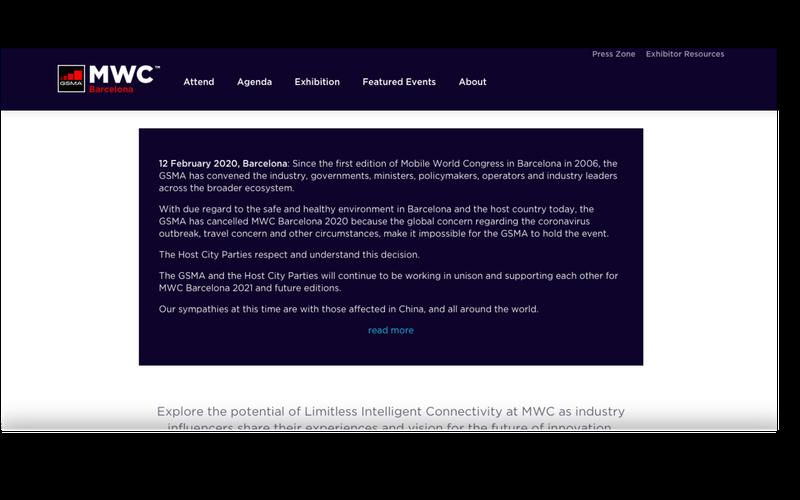 肺炎疫情干擾 2020年MWC確定取消。 圖/擷自 GSMA 官網