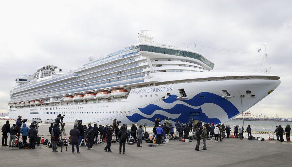 在橫濱外海隔離的鑽石公主號郵輪,昨天再增卅九名新冠肺炎確診病例。(美聯社)