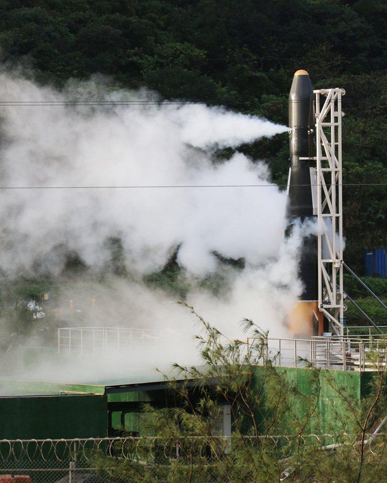 首枚國造火箭「飛鼠一號」。 聯合報系資料照/記者劉學聖攝影