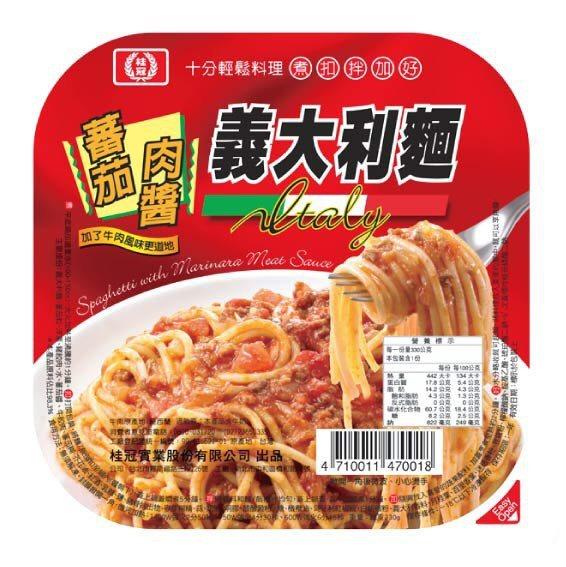 桂冠蕃茄肉醬義大利麵(330g)原價49元、特價45元(2/18前)。圖╱愛買線上購提供