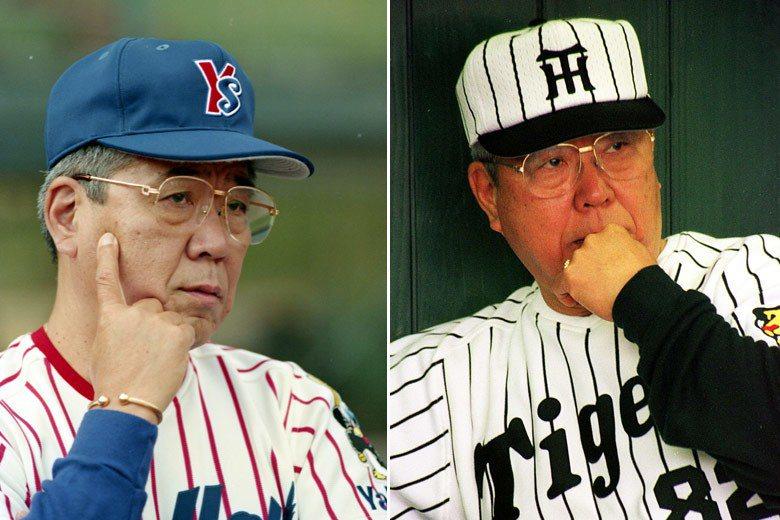 左:1994年野村克也率養樂多隊來台交流賽。右:1999年任職阪神虎監督。 圖/...