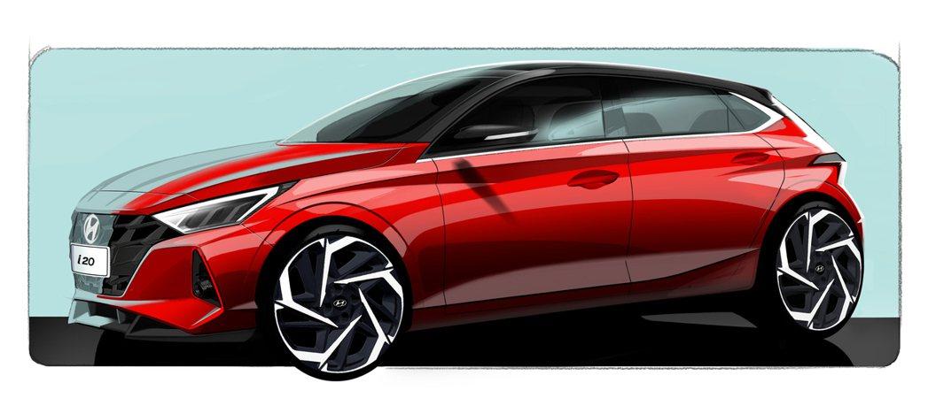 大改款Hyundai i20設計草圖。 摘自Hyundai