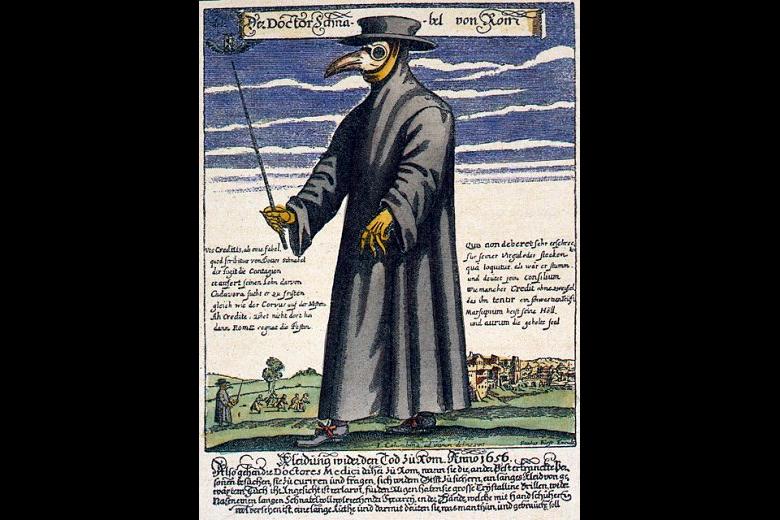 17世紀的「疫病醫師」(plague doctor),身穿長袍大帽,手戴手套,頭戴怪異的鳥喙型口罩。 圖/維基共享