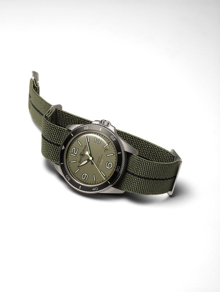 Bell & Ross,BR V2-92軍綠色腕表,精鋼,41毫米,時間顯示與日...