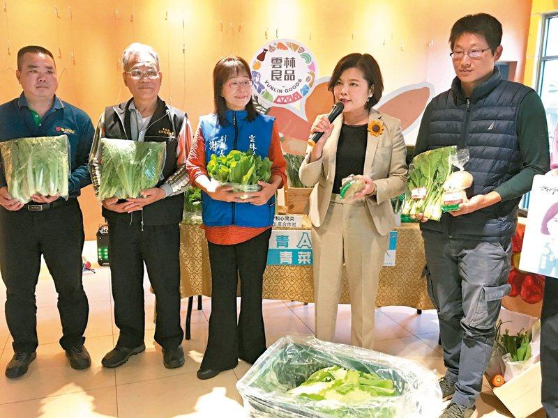 雲林縣長張麗善(右二)昨天宣布,縣府將採購200箱蔬菜贈送長青食堂,並由縣府提供專線媒合窗口,全力協助銷售。 記者陳雅玲/攝影