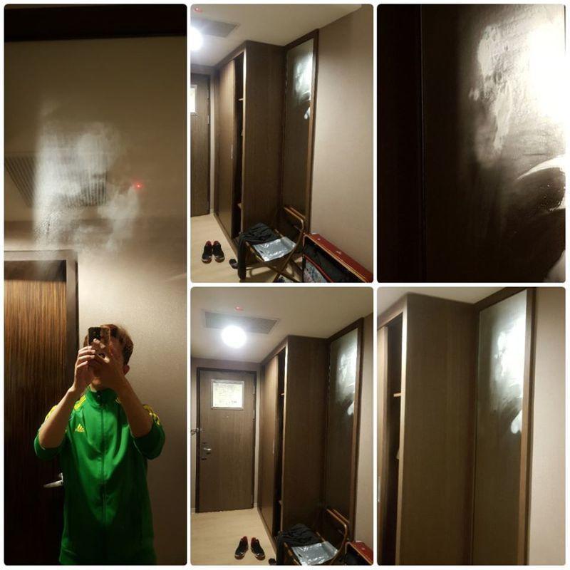 原PO發現房間玄關的全身鏡上有「半張人臉」的霧氣,且怎麼擦都擦不掉。圖擷自<a href=