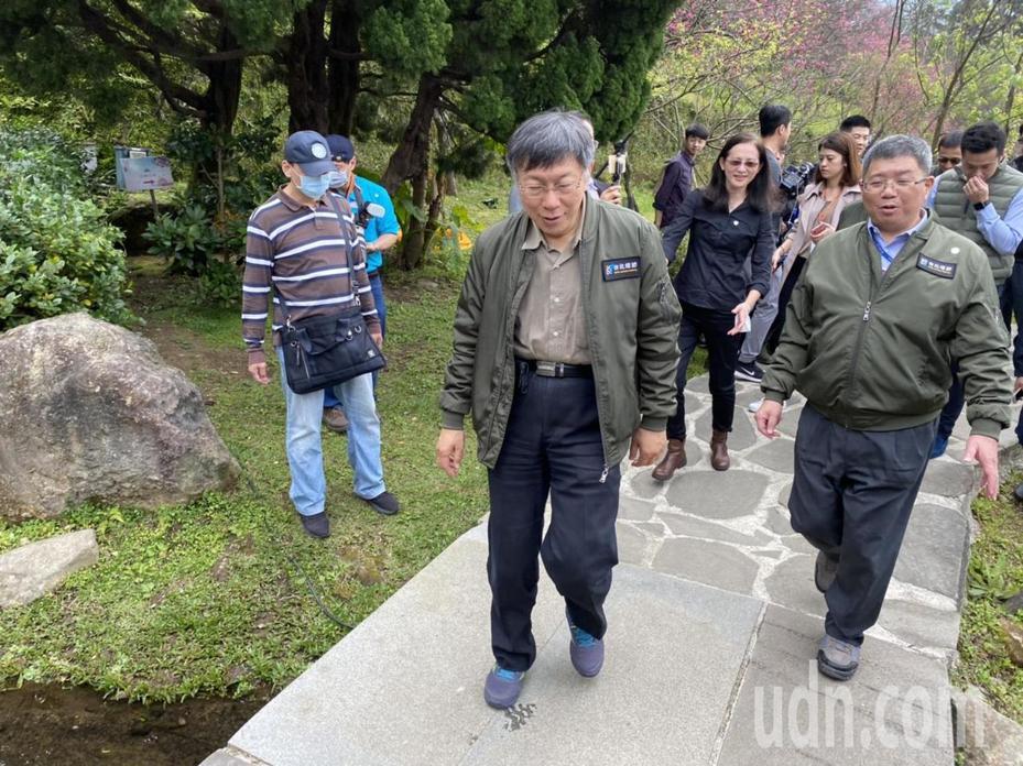 台北市長柯文哲今天上午出席陽明山花季開幕記者會。記者魏莨伊/攝影