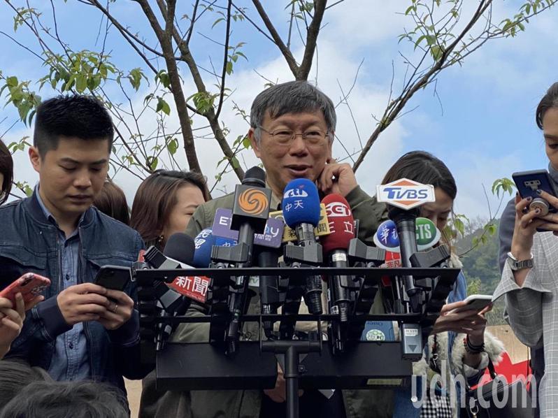 台北市長柯文哲上午出席陽明山櫻花季。記者魏莨伊/攝影
