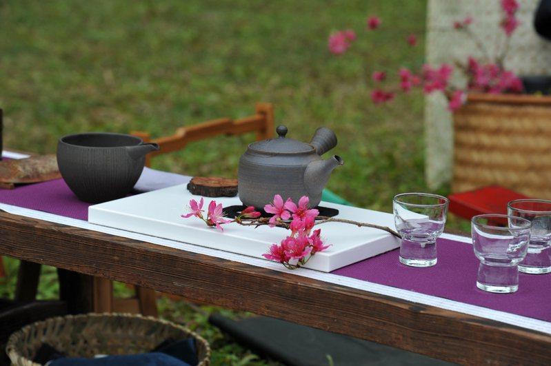 魚池鄉公所和九族文化村16日舉辦櫻花茶會,讓遊客體驗在櫻花樹下欣賞落英繽紛的美景。圖/九族文化村提供