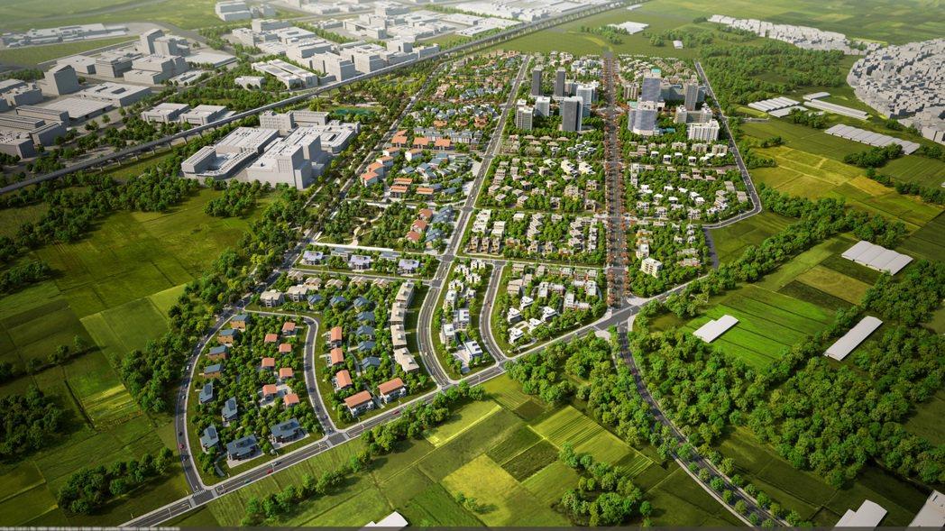 台南市南科特定區開發區塊F、G區段徵收模擬圖。圖/台南市政府提供