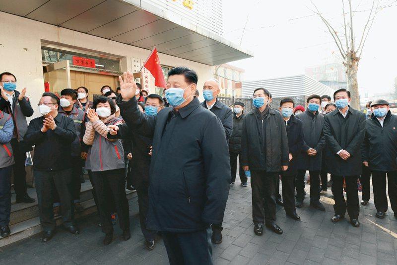 中共中央總書記習近平2月10日在北京對新冠肺炎作調研。圖/取自新華社