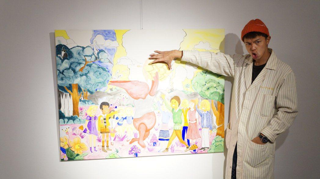 小鬼黃鴻升舉辦「Dear Papa」創作個展,展期至3月1日。圖/安德昇藝術提供