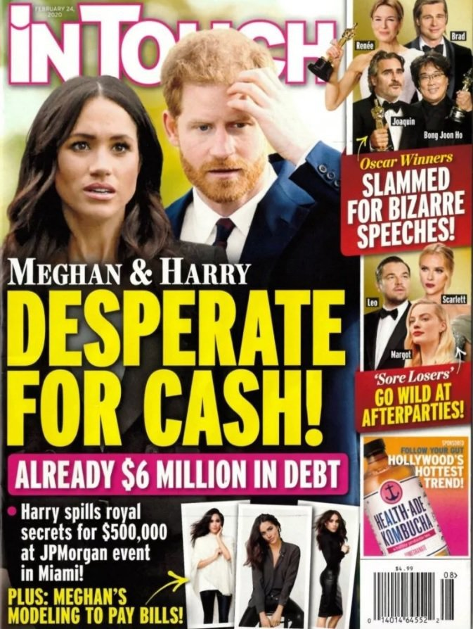哈利王子與梅根被指已負債600萬美元,被逼搶錢不擇手段。圖/翻攝自In Touc